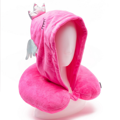 Travel neck pillow with hood flamingo