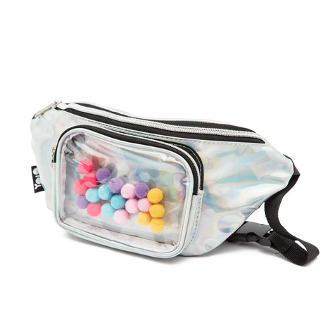 Waist pouch with pompoms silver
