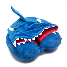 Travel neck pillow with hood shark