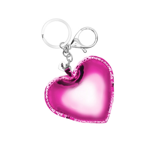 Holographic litter heart key ring pink