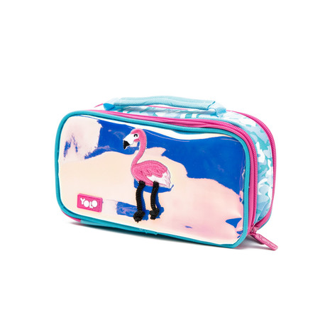 Suitcase holographic flamingo