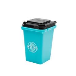 Trash can pen holder light blue
