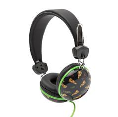 Retro headphones pizza
