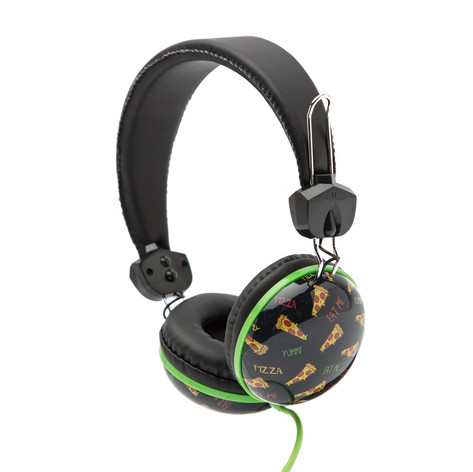 Retro headphones pizza