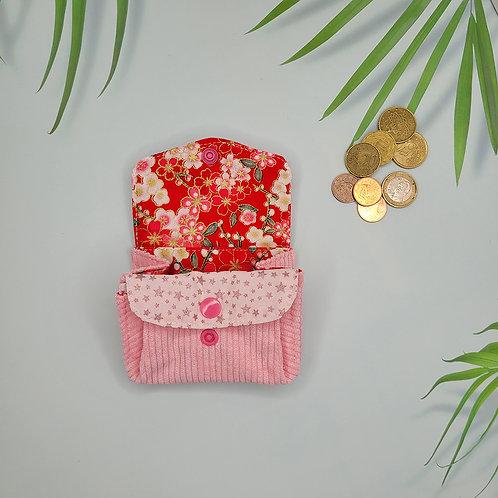 porte monnaie velours fleuri japonais rouge