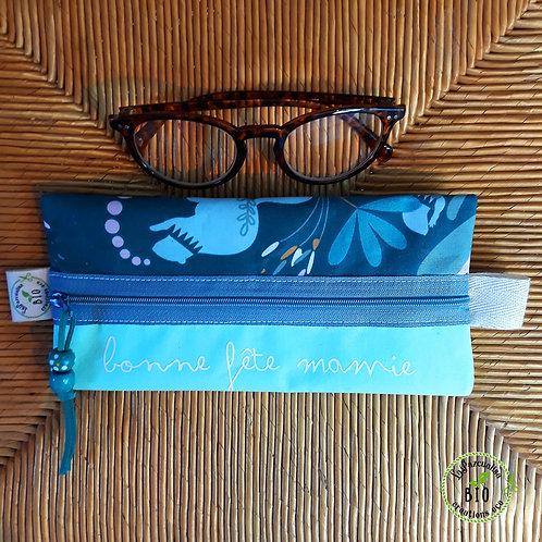 Pochette lunettes oiseaux et fleurs