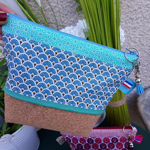 trousse liège végan et tissus japonais bleu