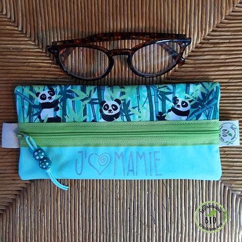 pochette lunettes motif pandas