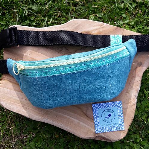 sac banane bumbag fanny pack riñonero suédine turquoise