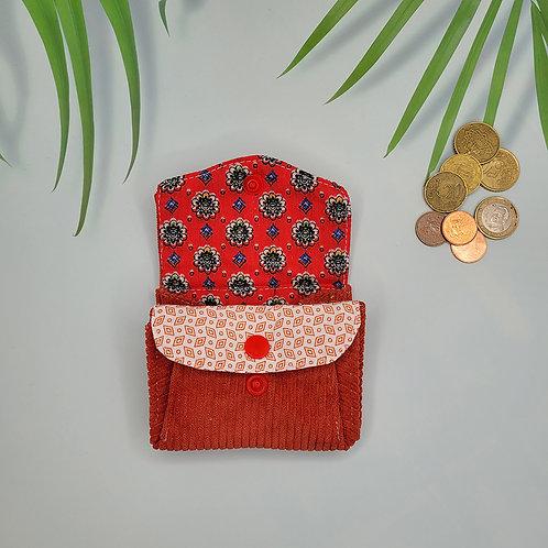 porte monnaie tissus vintage rouge