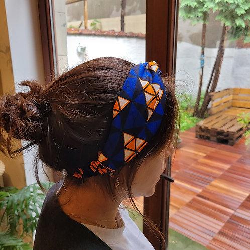 Headband, bandeau pour cheveux en tissus wax bleu et orange
