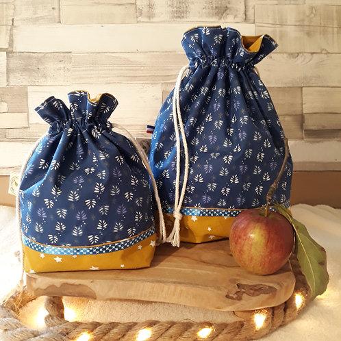 sac à cadeau tissus oeko-tex bleu et moutarde