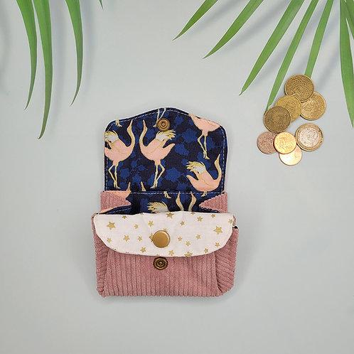 porte monnaie velours flamande rose japonais