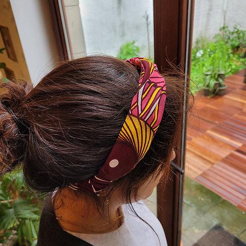 """bandeau croisé pour cheveux en tissus wax """"les tournesols africains"""""""