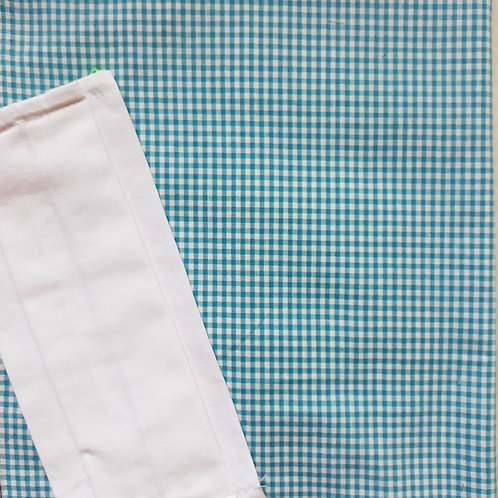masque barrière modèle vichy bleu turquoise