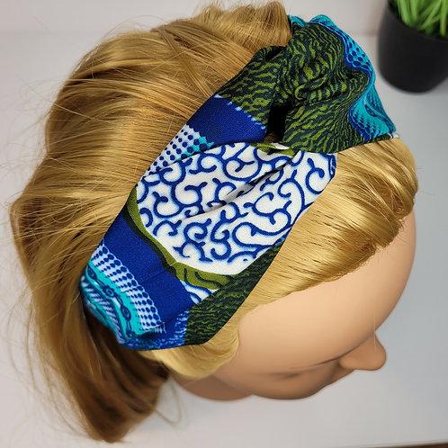 Bandeau croisé pour cheveux en tissus wax vue haut