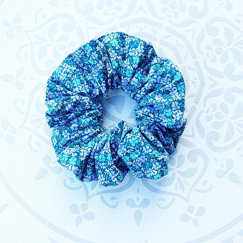 chouchou coletero scrunchie floral turquoise