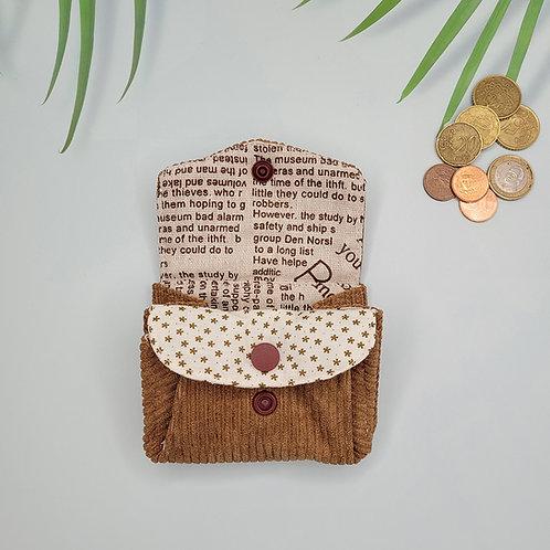 porte monnaie velours motif journal