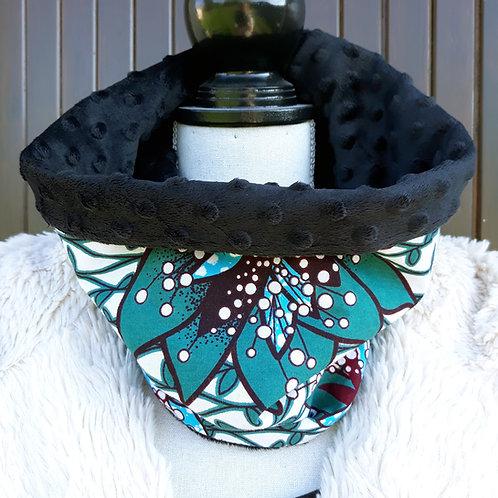 snood tour de cou écharpe wax vert et bleu