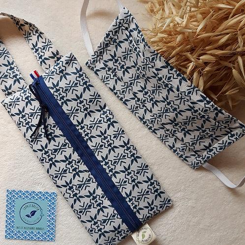 pochette pour masque tissus lavable azulejos bleus