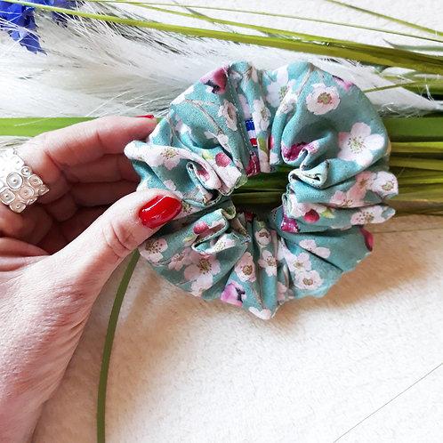 Chouchou, foulchie, bandeau croisé oiseaux et fleurs romantiques