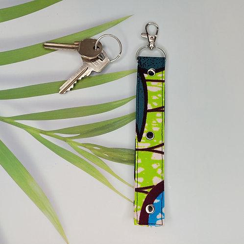 porte clé tissus wax vert et bleu