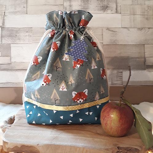 sac à cadeau pochon tissus oeko-tex renard