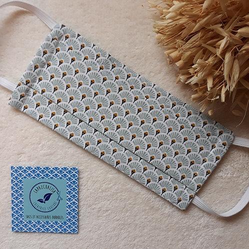 masque tissus lavable éventail gris perle