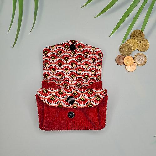 porte monnaie velours seigaha rouge