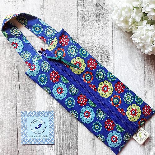 pochette fleur pensée bleue