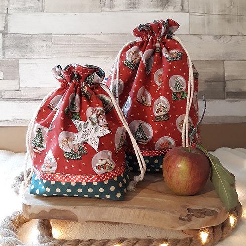 sac à cadeau pochon tissus oeko-tex boule à neige rouge