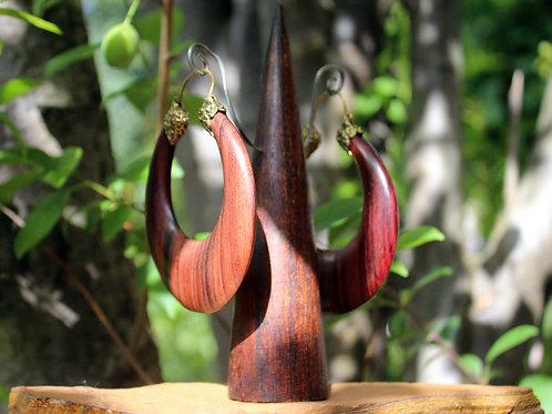Earthy wooden big hoops
