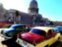 Cuba, Havana, Cathedral, vintage car