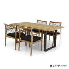 Mobilier de Terrasse_Apple Bee_LaCroix_Dining_Set_Teak SVLK N