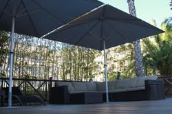 Parasol Bahama Easy - 3x3m - Fixation Mobile - Mobilier de terrasse - Particulier - Terrasse Bois