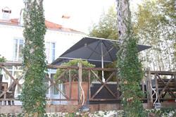 Parasol Bahama Easy - 3x3m - Fixation Mobile - plaque 750x750x8mm - Particulier - Terrasse Bois