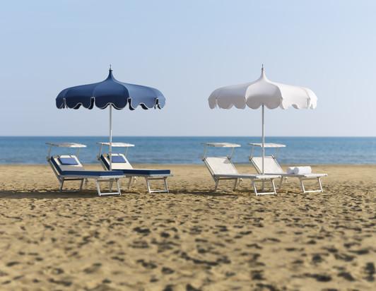 Parasol Pagode - Parasol plage - plage privée - O Grands Bains