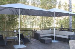 Parasol Bahama Easy - 3x3m - Fixation Mobile - plaque 750x750x8mm - Particulier - Terrasse Bois - ou