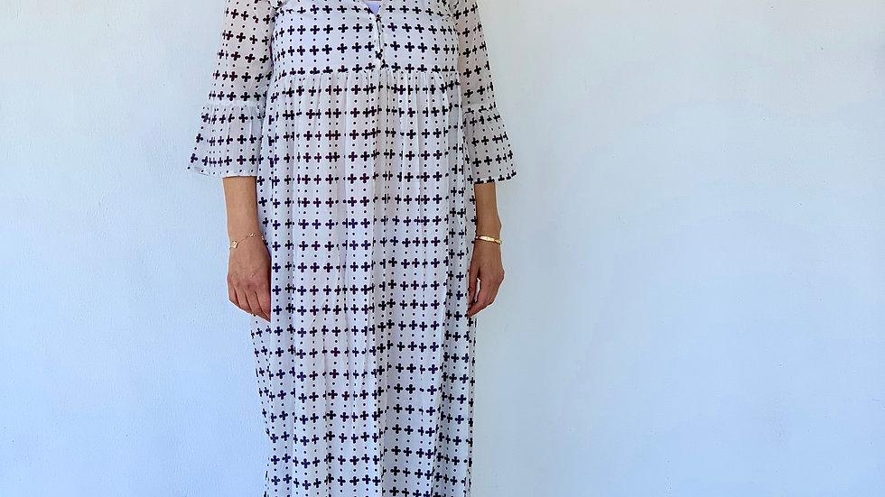Sommerkleid bodenlang aus Baumwolle , Größe : S,M,L,XL