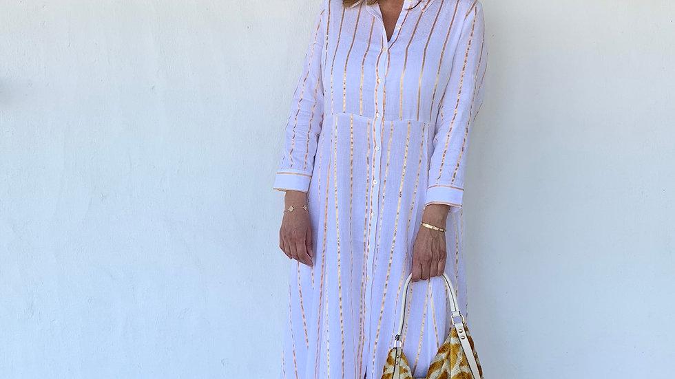 Langes Sommerkleid / weiß mit goldenen Streifen