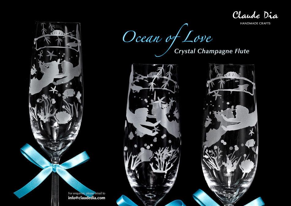 情人節禮物, Valentine's Day, 刻字杯, 客製杯, 刻字, 週年禮物, 噴砂, Romantic, Anniversary gift, 特別, 心意, DIY, sandblasting, birthday gift, stemware, 玻璃杯, 玻璃精品, Crystal Champagne Flute, Ocean of Love