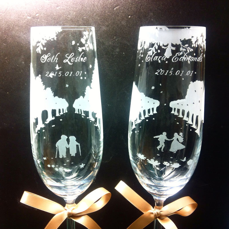 情人節禮物, Valentine's Day, Romantic, Anniversary gift, 特別, 心意, DIY, sandblasting, birthday gift, stemware, 玻璃杯, 玻璃精品, glass, gift, Purity of Love, Champagne Flute