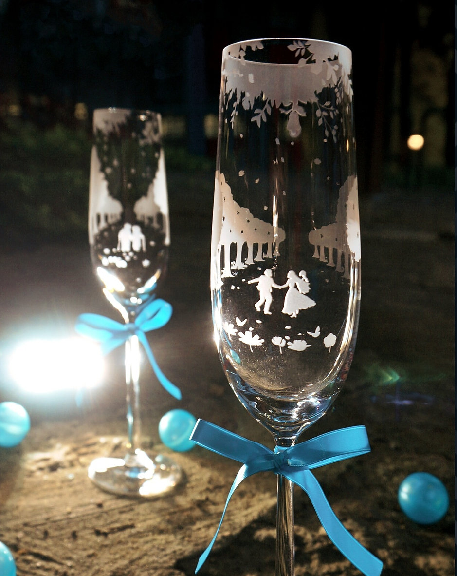 情人節禮物, Valentine's Day, Romantic, Anniversary gift, 特別, 心意, DIY, sandblasting, birthday gift, stemware, 玻璃杯, 玻璃精品, Purity of Love, Crystal  Chapmagne Flutes, Love
