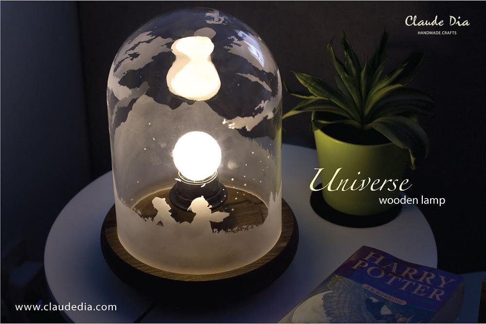 玻璃燈, 木座燈, 復古, 刻字, 刻字燈, 手工製品, 結婚禮物, 生日禮物, 新居入伙, Universe, Wooden Lamp