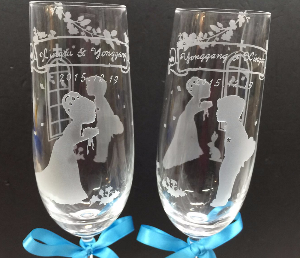 刻字, 水晶香檳杯, 刻字杯, 刻字,結婚禮物, 生日禮物