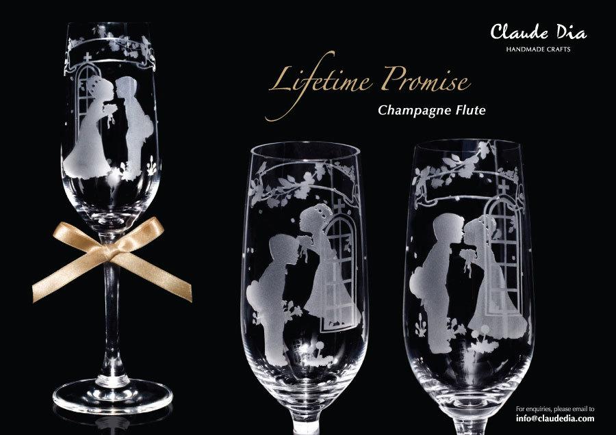 情人節禮物, Valentine's Day, 刻字杯, 客製杯, 刻字,Romantic, Anniversary gift, 特別, 心意, DIY, sandblasting, birthday gift, stemware, 玻璃杯, 玻璃精品, Lifetime Promise, Crystal Champagne Flute,