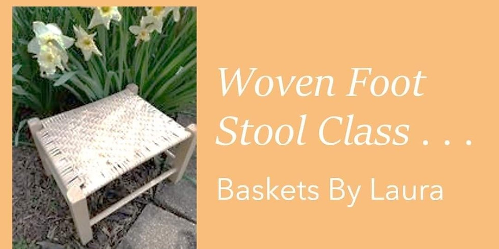 Woven Foot Stool Class with Baskets by Laura