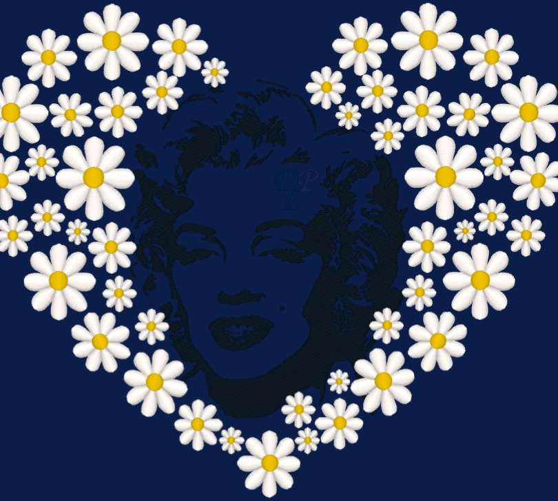 Marilyn Monroe & Daisies Embroidery