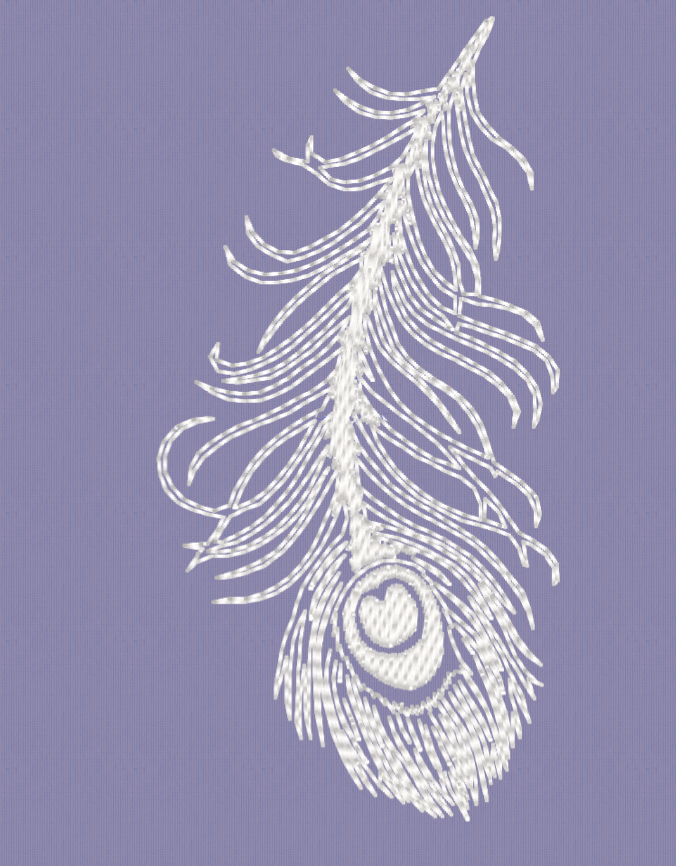 Single White Peacock Feather Embroidery.