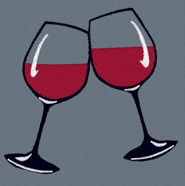 Two Wine Glasses Embroidery